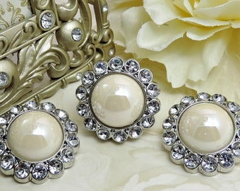 Shiny IVORY Pearl Rhinestone Buttons Acrylic Shiny Ivory Pearl Button W/ Clear Surrounding Rhinestones Button Brooch Bouquet 26mm 3185 91 2R