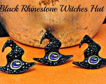 Black Rhinestone Witch Hat Halloween Rhinestone Buttons Ribbon Sliders Crystal Flatback Embellishments Scrapbooking Flower Centers 25 mm