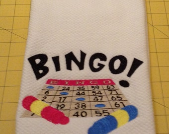 "BINGO ""Enthusiast"" Embroidered Kitchen Hand Towel. Williams Sonoma All Purpose Kitchen Towel, XL"