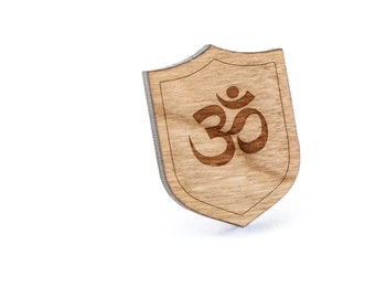 Om Lapel Pin, Wooden Pin, Wooden Lapel, Gift For Him or Her, Wedding Gifts, Groomsman Gifts, and Personalized