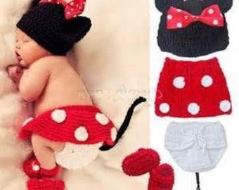 4 piece crochet baby minnie mouse set