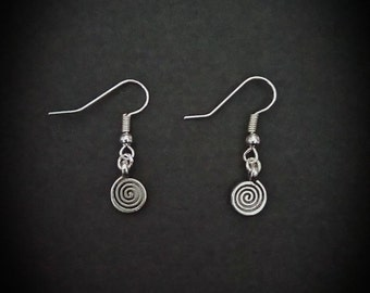 Wiccan Pagan Spiral Of Life Inspired Drop Earrings. Silver plated Hooks.