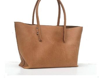 Leather bag / shopper in vintage - nature
