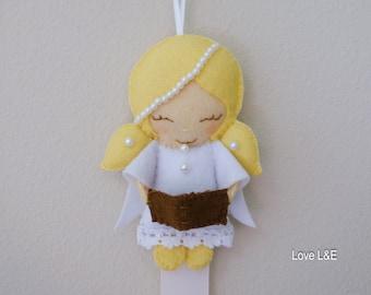 Hair bow holder, Hair bow organizer- White angel