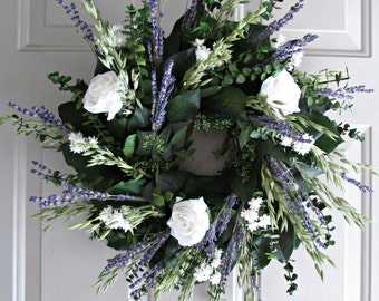lavender wreath with preserved salal (lemon leaf), english lavender, and cream roses - leaf wreath, spring wreath