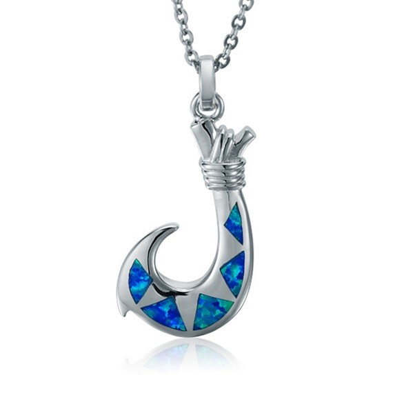 Sterling silver fish hook pendant with opal inlay 18 for Silver fish hook necklace