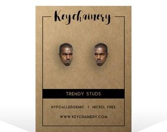 Kanye West Stud Earrings - Celebrity Stud Earrings - Yeezy Stud Earrings - Nickel-free Stud ...