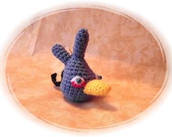 Crochet Keychain, Keychain, Angry Bird grey, crocheted Keychain, handmade, OOAK, handmade, unique