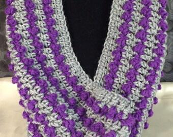 Hand Crochet Cowl Purple/Gray