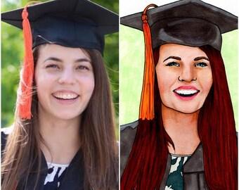 Custom Graduation Portrait -- Made to Order -- Personal Gift -- Graduation Illustration -- Graduation Portrait