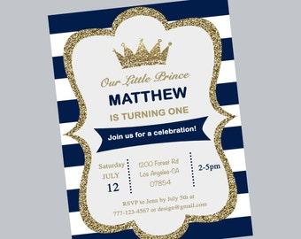 1st birthday invitation, prince crown, first birthday, stripe, blue and white, birthday party, prince, one, prince birthday, digital file