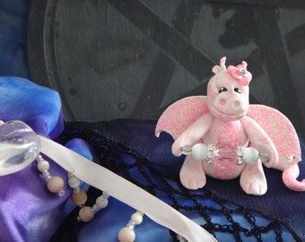 BABY PINK OOAK polymer clay dragon