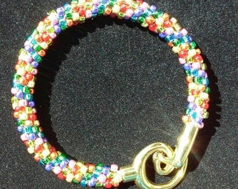 Rainbow colored Kumihimo bracelet