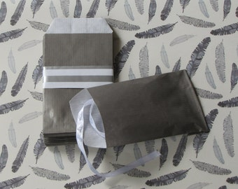 50 /sachets 60gr taupe French 7x12cm gift pouches
