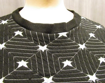 1970s SuperStar Black and White Star Sweater