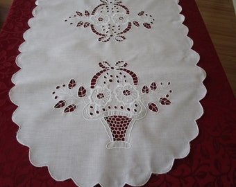 Vintage Large Table Runner Centerpiece White Linen With Cutout Embroidery, Cottage Chic Vintage Large Table Runner. Dresser Scarf