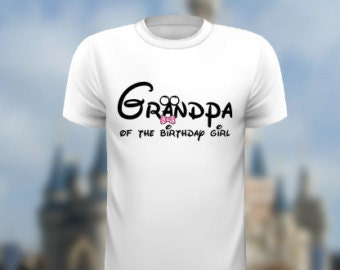 Grandpa of the birthday girl Mickey Ears Pink Bow Tie Disney iron on INSTANT Download Printable Iron on  Design matching family shirts