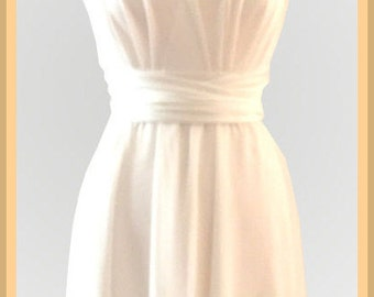 Infinity Dress two layers with chiffon in offwhite color Convertible/Infinity Dress