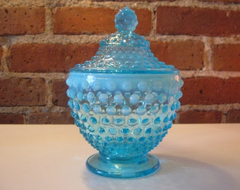Vintage Fenton Blue Opalescent Hobnail Candy Dish with Lid