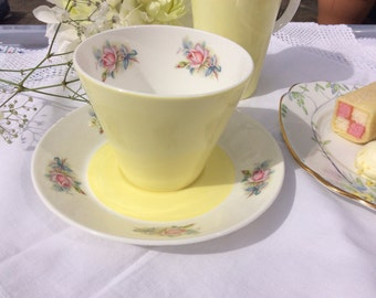 English Bone China: tea cup and Saucer and jug, lemon and roses, Duchess China tea cup, saucer and elegant China for the perfect tea party