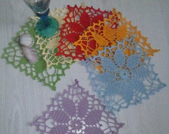 Set Of 6 Small Table Tea/Coffee Cup Holders-Doilies- In Different Color-Ready For Ship
