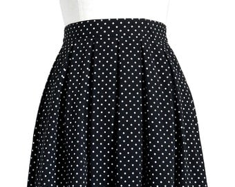 Vintage 1990's, Black and White, Polka Dot, Pleated, Midi-Length, A-line Skirt with Pockets