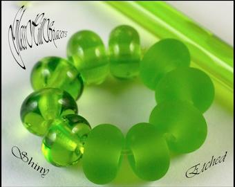 Light Grass Green Handmade Lampwork Spacer Beads 10 pcs from GlassHillSpacers Ireland