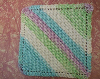 Dishcloth bias knit sherbet colors