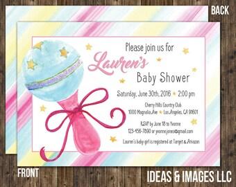 Rainbow Baby Shower Invitation   Watercolor Rattle Baby Shower Invite   Custom Rainbow Baby Shower Invitations   DIY Printable