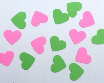 200 Heart Confetti Pink and Green Confetti Birthday Confetti Party Confetti Wedding Confetti Shower Confetti Die Cut Punch