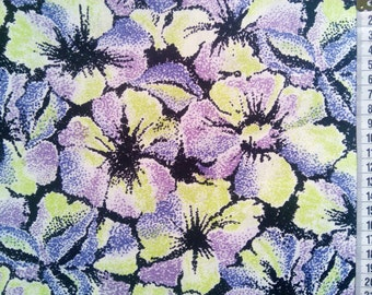 Large Yellow Purple Floral Fabric by the Yard, Beach Fabric, Summer Party Fabric, Patchwork Fabric, Print Fabric, Quilt Supply Decor Fabric