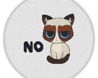 Grumpy Cat Cross Stitch Pattern Grumpy cross stitch Funny cross stitch Grumpy cat Cat cross stitch X104