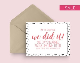 SALE: First Wedding Anniversary Card - Pop the Champagne - Black and Coral - Funny/Witty/Sarcastic/Humor