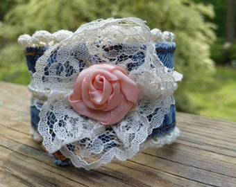Upcycled Denim and Lace Bracelet with Peach Rose
