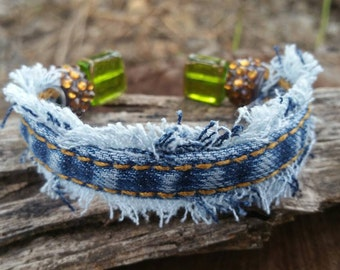 Upcycled Frayed Denim Cuff Bracelet