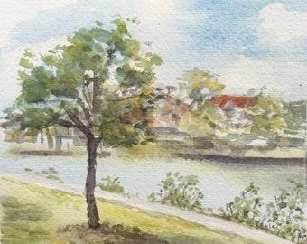 Brisbane River from New Farm Park , Watercolour Painting, Original Artwork