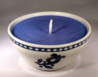Ceramic Dark Blue Floral Candle