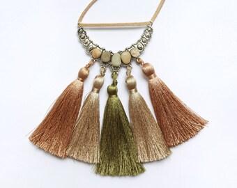 Long tassel necklace , Boho necklace , Beige and green tassel necklace , Boho jewelry , Beach jewelry