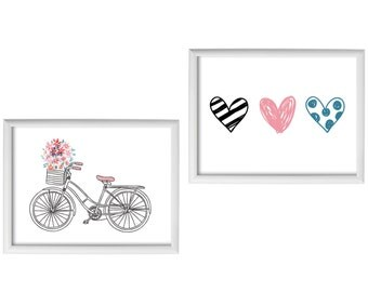 Set Of Two  Posters -  Bicycle & Hearts