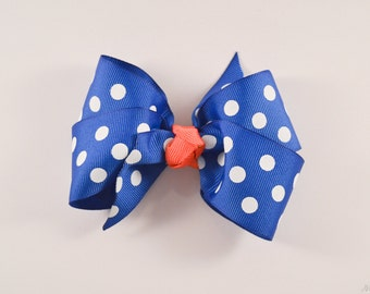 Royal Blue and Coral Small Hairbow m2m Made to Match Matilda Jane March 2016