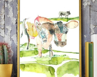 Cow Watercolor Painting,Cows in the meadow,Cows in the field,cow lover gift,cow wall art,cow decor, cow portrait,farm decor,farm art print