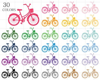 Bicycle Clipart, Bicycle Silhouette Clip Art, Colorful Digital Bicycles, Rainbow Bicycles, Bicycles for Scrapbooking, Bike Clipart
