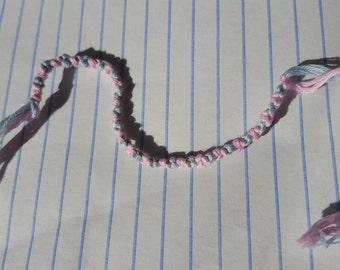 Simple Blue and Pink Knotted Friendship Bracelet