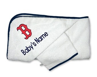 """Personalized Boston Red Sox Baby """"B"""" Hooded Towel Set"""