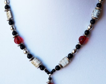 Black, Red, Silver Glass Bead Necklace