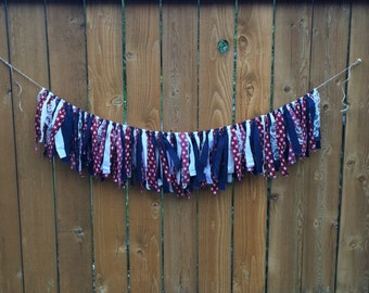 Patriotic Red White and Blue Fourth of July Linen & Lace Fabric Shabby/Chic Garland