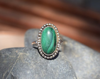 Corda Silver & Malachite Boho Ring