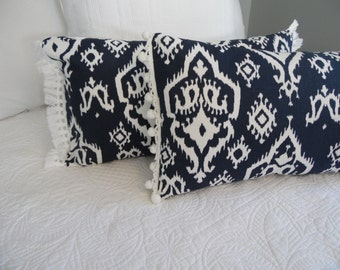 3 colors.IKAT Decor Pillow Cover.Red.Turquoise.Navy Blue.NAVY.Navy and White Pillow Cover.Pom-Fringe.Pillow Covers.Slip Covers.Home Decor