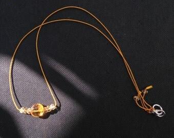 Citrine Necklace on Marigold Silk