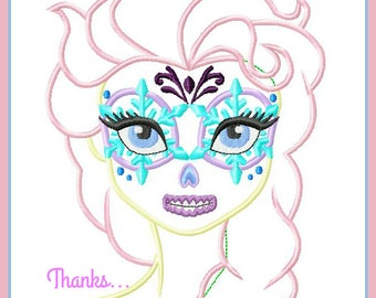 Queen Elsa from Frozen Dia de Los Meurtos Day of the Dead Sugar Skull  Digital Embroidery Machine Applique Design File